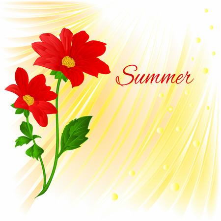 dahlia: Summer Red Dahlia summer flower stem Vector illustration