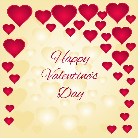 event: Valentines day gold and red hearts greeting card festive  background illustration