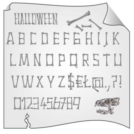 awful: Alphabet from bones Halloween mystery fonts vector illustration Illustration