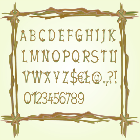 Alphabet made of twigs wooden fonts in a frame from the twigs vector illustration