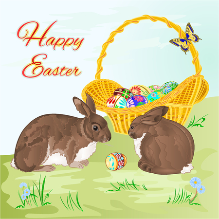 easter basket: Happy Easter  rabbits  and easter basket  in the grass with flowers vector illustration