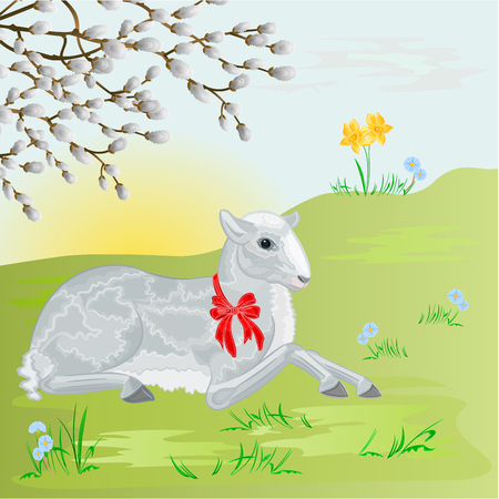pussy: Easter lamb on the meadow and pussy willow Easter background vector illustration Illustration