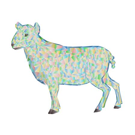 pasen schaap: Pasen lam veelhoeken witte achtergrond vector illustratie Stock Illustratie
