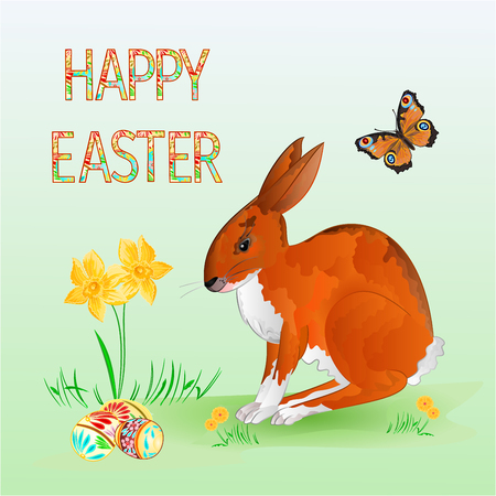 brown hare: Happy Easter Cheerful spring bunny with Easter Eggs and  butterfly vector illustration Illustration
