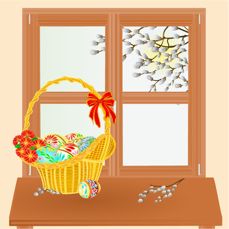 pussy willow: Spring window and pussy willow with Easter basket vector illustration Illustration