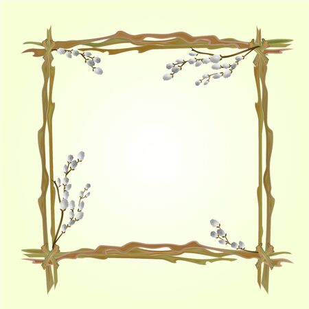 pussy willow: Frame pussy willow branch spring background place for text vector