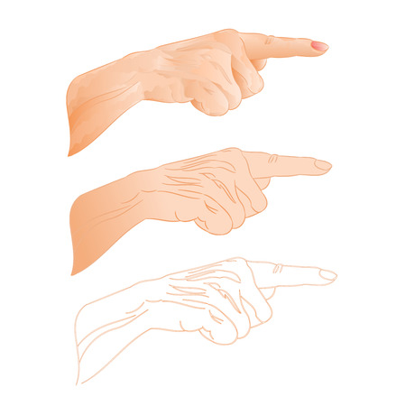 three pointer: Human hand right pointer three color drawing and outline vector illustration