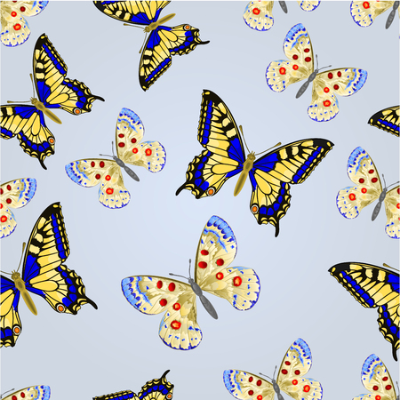 io: Seamless texture two butterflies silver background vector illustration
