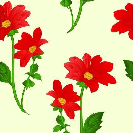 dahlia: Seamless texture red Dahlia summer flower stem illustration