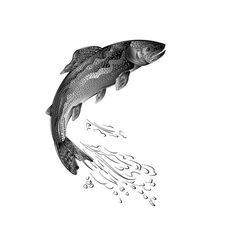 Trout jumps salmon-predatory fish as wrought metal vintage illustration