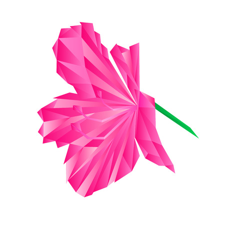 shrub: Flower pink simple rhododendron polygons Mountain shrub illustration