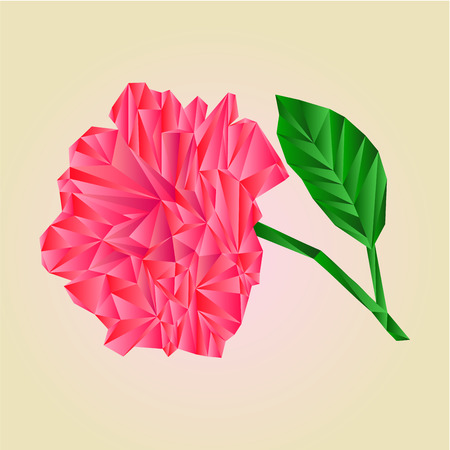 freshens: Rose pink blossoms stem with leaves polygons illustration