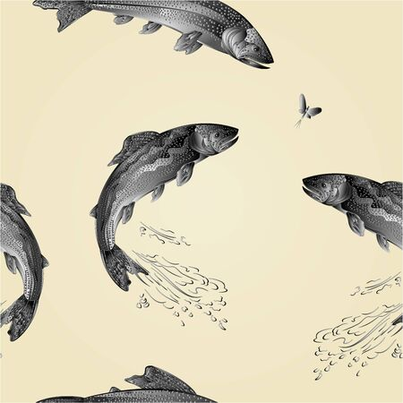 Seamless texture American brook trout as wrought metal vintage Illustration