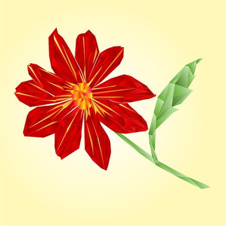 dahlia: Red dahlia polygons summer flower stem illustration