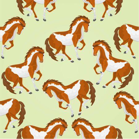 piebald: Seamless  texture piebald horses stallions illustration