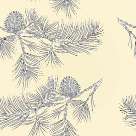 pine cone: Seamless texture branch Pine and pine cone as vintage engraving natural background vector illustration