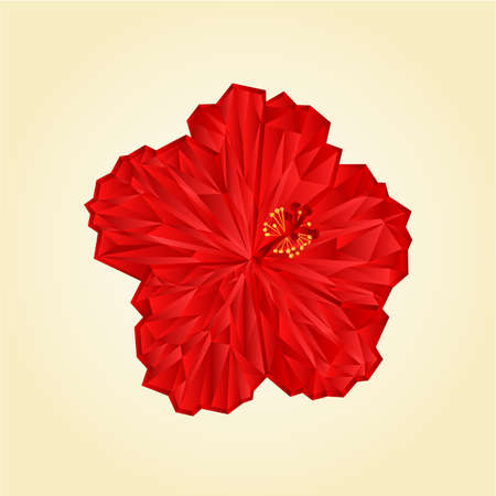 red hibiscus flower: Red hibiscus flower  chinese, rose polygons vector illustration Illustration