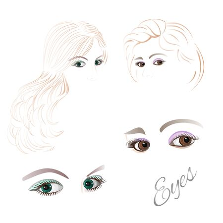 black hair blue eyes: Females  eyes brown and green  with the contour face and  hair Set of vector illustration Illustration
