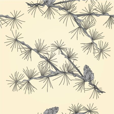 larch: Seamless texture Larch tamarack branch as vintage engraving vector illustration