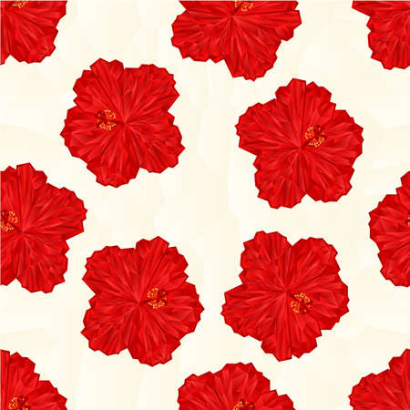 red hibiscus flower: Seamless texture red hibiscus flower  chinese rose polygons vector illustration