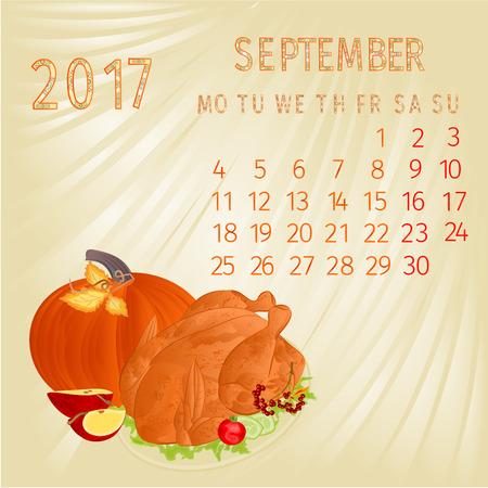 date fruit: Calendar September 2017  and celebratory food vector illustration