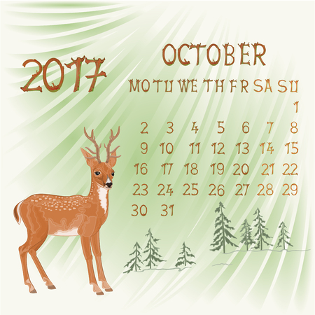 Calendar October 2017 and young deer vector illustration Illustration