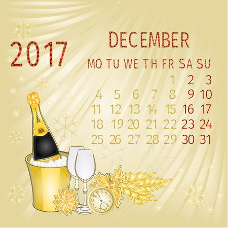 calendario diciembre: De diciembre del calendario 2017 y Año Nuevo ilustración vectorial