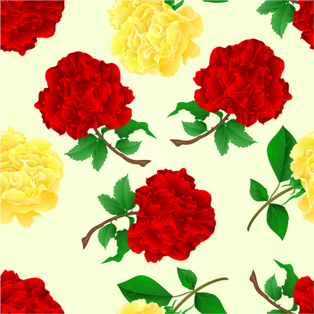 a twig: Seamless texture twig red and tea roses stem with leaves  vector illustration Illustration