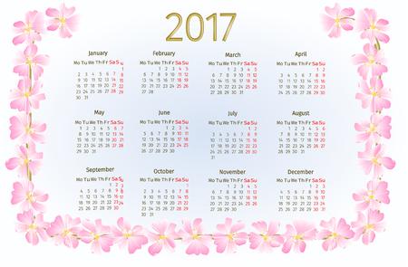 wild rose: Calendar 2017 with wild rose blossoms vintage illustration