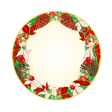 pinecones: Button circular Christmas Spruce and poinsettia with pinecones illustration