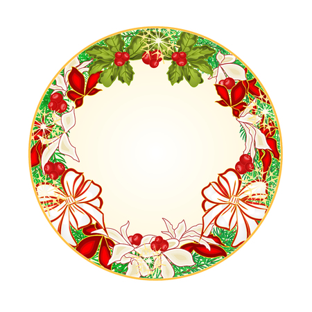 Button circular Christmas Spruce with white bows and poinsettia illustration Illustration
