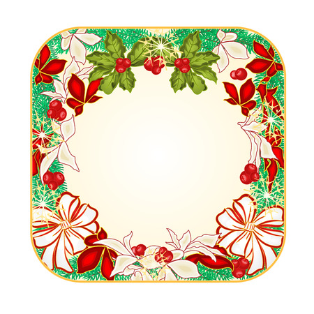 spruce: Button square  Christmas Spruce with white bows and poinsettia illustration Illustration
