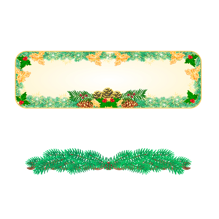 pinecones: Banner Christmas Spruce and  pinecones green and gold leaves holly and yew  illustration Illustration
