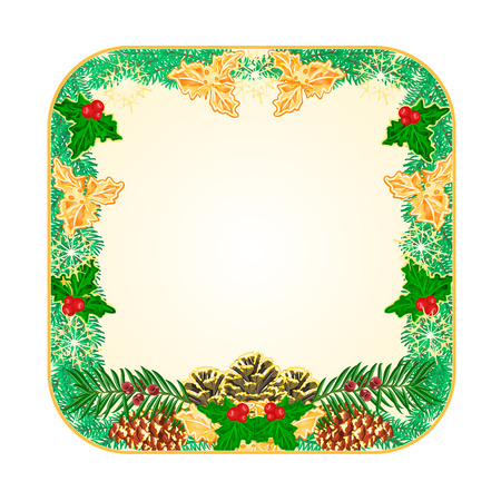 Button square Christmas Spruce and pinecones green and gold leaves holly and yew illustration