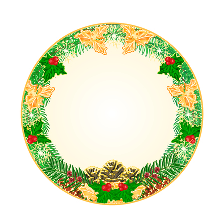 Button circular Christmas Spruce and pinecones green and gold leaves holly and yew illustration