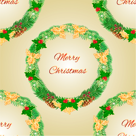 Seamless texture Merry Christmas wreath with pinecones green and gold leaves holly and yew illustration