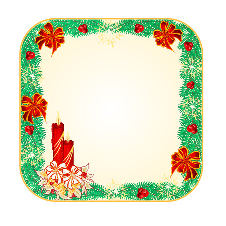 candlestick: Button square  Christmas Spruce with  a candlestick illustration Illustration