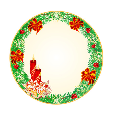 candlestick: Button circular  Christmas Spruce with  a candlestick illustration