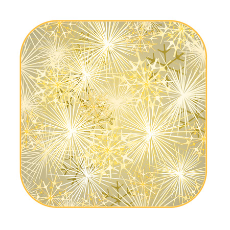 yew: Button square New Year fireworks gold background  illustration