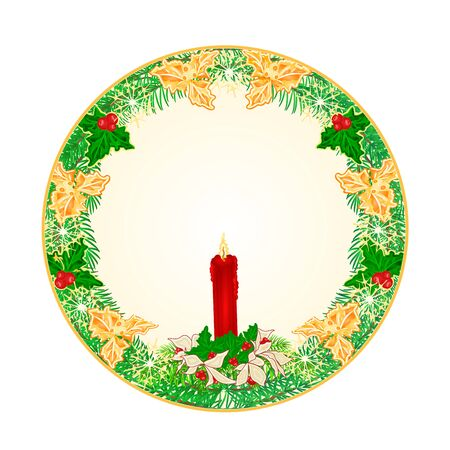 Button  circle  Christmas Spruce with  a red candlestick and poinsettia vector illustration Illustration