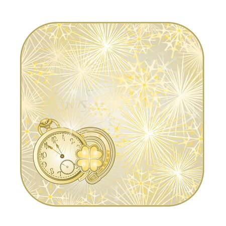 square New Year fireworks with watches and lucky symbols gold background  illustration Illustration