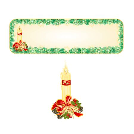 Banner  Christmas Spruce with candle and pine cones illustration Illustration