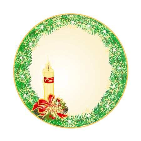 circle Christmas Spruce with candle and pine cones illustration Illustration
