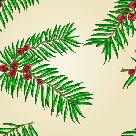 Seamless texture Yew branches with red berries nature background illustration