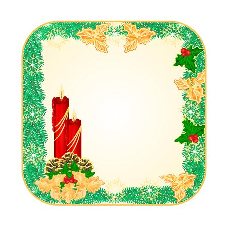 square Christmas Spruce with red candlestick and pine cones and gold holly  illustration Illustration