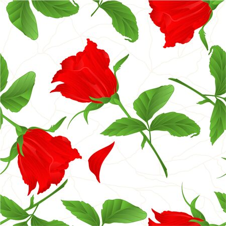 centifolia: Seamless texture rosebud red rose twig with leaves cracks in the porcelain vintage vector illustration
