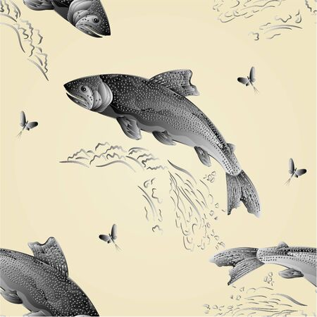 Seamless texture Trout jumps  in stream salmon-predatory fish as wrought metal vintage vector illustration Illustration