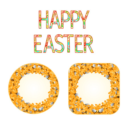 Buttons Happy easter with pussy willow and forsythia vintage vector illustration Illustration