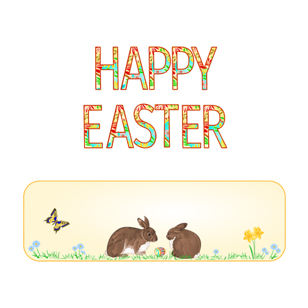 Banner Happy easter rabbits  and easter egg with butterfly vintage vector illustration