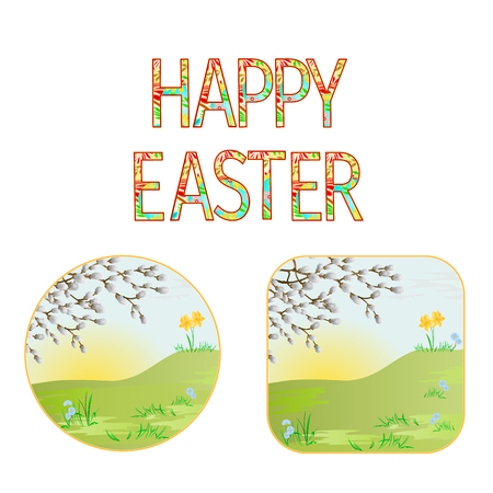 Buttons Happy easter  spring meadow with  pussy willow vintage illustration